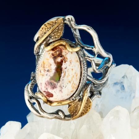 Кольцо опал благородный огненный  (серебро 925 пр., позолота) размер 16,5