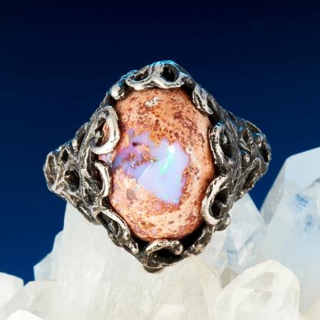 Кольцо опал благородный огненный  (серебро 925 пр.) размер 18