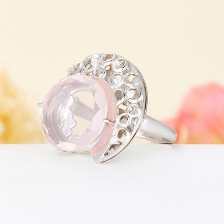 Кольцо розовый кварц  огранка (серебро 925 пр.) размер 17,5