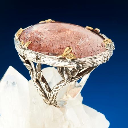 Кольцо авантюрин  огранка (серебро 925 пр., позолота) размер 19