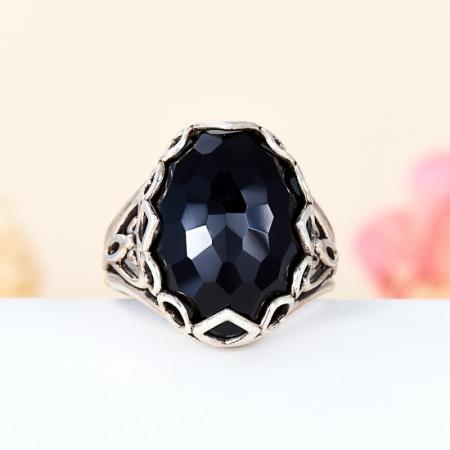 Кольцо агат черный  огранка (серебро 925 пр.) размер 19Агат<br>Кольцо агат черный  огранка (серебро 925 пр.) размер 19<br><br>kit: None