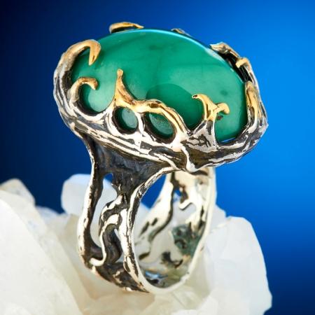 Кольцо хризопраз  (серебро 925 пр., позолота) размер 18,5Хризопраз<br>Кольцо хризопраз  (серебро 925 пр., позолота) размер 18,5<br><br>kit: None