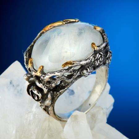 Кольцо лунный камень  (серебро 925 пр., позолота) размер 18,5Лунный камень<br>Кольцо лунный камень  (серебро 925 пр., позолота) размер 18,5<br><br>kit: None
