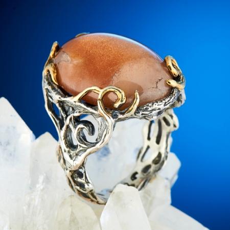 Кольцо солнечный камень  (серебро 925 пр., позолота) размер 17Солнечный камень<br>Кольцо солнечный камень  (серебро 925 пр., позолота) размер 17<br><br>kit: None