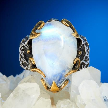Кольцо лунный камень  (серебро 925 пр., позолота) размер 19Лунный камень<br>Кольцо лунный камень  (серебро 925 пр., позолота) размер 19<br><br>kit: None