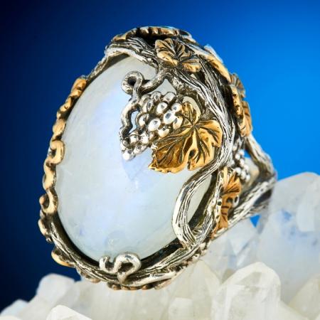 Кольцо лунный камень  (серебро 925 пр., позолота) размер 18Лунный камень<br>Кольцо лунный камень  (серебро 925 пр., позолота) размер 18<br><br>kit: None