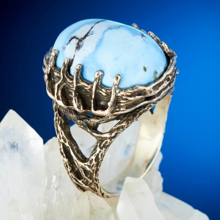 Кольцо бирюза  (серебро 925 пр.) размер 19