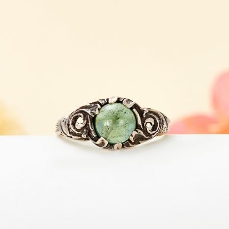 Кольцо турмалин зеленый (верделит)  (серебро 925 пр.) размер 17,5
