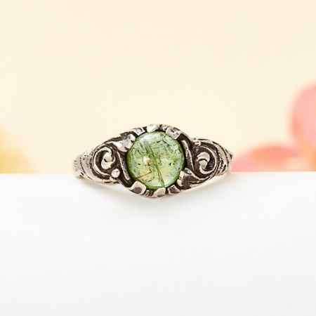 Кольцо турмалин зеленый (верделит)  (серебро 925 пр.) размер 18Турмалин<br>Кольцо турмалин зеленый (верделит)  (серебро 925 пр.) размер 18<br><br>kit: None