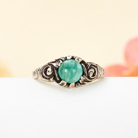 Кольцо турмалин зеленый (верделит)  (серебро 925 пр.) размер 18,5