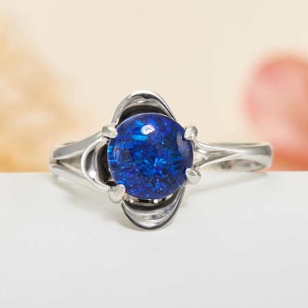 Кольцо опал благородный синий (триплет)  (серебро 925 пр.) размер 19