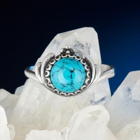 Кольцо бирюза Тибет (серебро 925 пр.) размер 18