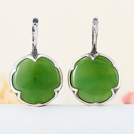 Серьги нефрит зеленый  (серебро 925 пр.)Нефрит<br>Серьги нефрит зеленый  (серебро 925 пр.)<br><br>kit: None