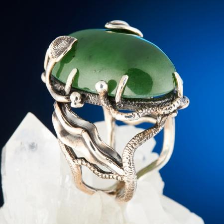 Кольцо нефрит зеленый  (серебро 925 пр.) размер 18,5Нефрит<br>Кольцо нефрит зеленый  (серебро 925 пр.) размер 18,5<br><br>kit: None