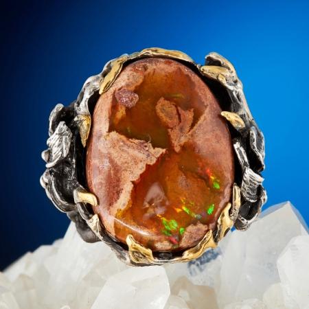 Кольцо опал благородный огненный  (серебро 925 пр., позолота) размер 17,5