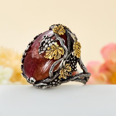 Кольцо турмалин полихромный  (серебро 925 пр., позолота) размер 18,5