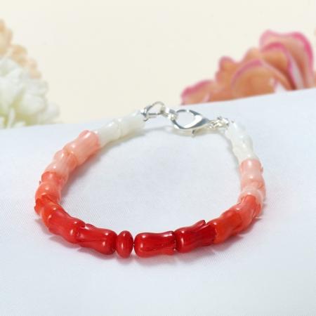 """Браслет коралл белый, красный, оранжевый, розовый 16 cм ООО """"Карелшунгит"""""""