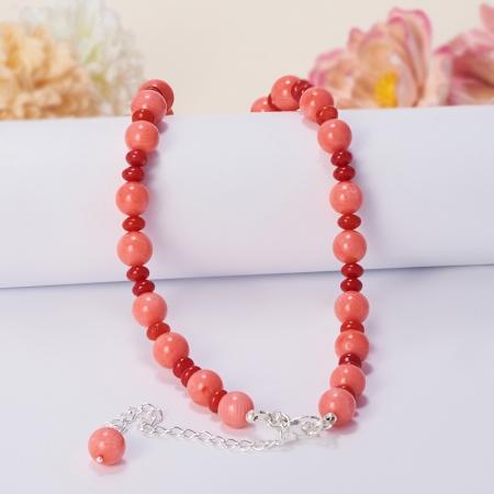 Бусы длинные коралл красный, оранжевый, розовый  60-70 см