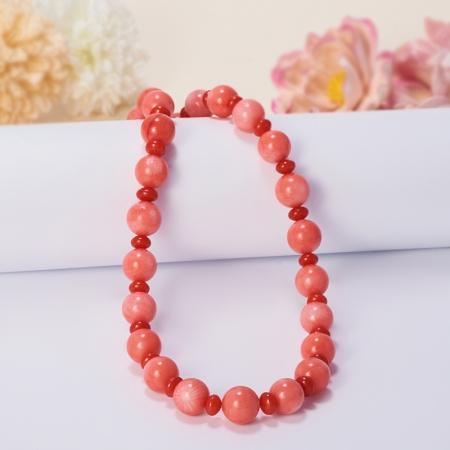 Бусы длинные коралл оранжевый, розовый  63-73 см