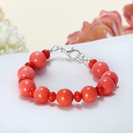 Браслет коралл красный, оранжевый, розовый  15 cмКоралл<br>Браслет коралл красный, оранжевый, розовый  15 cм<br><br>kit: None