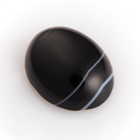Кабошон агат черный  12*16 мм