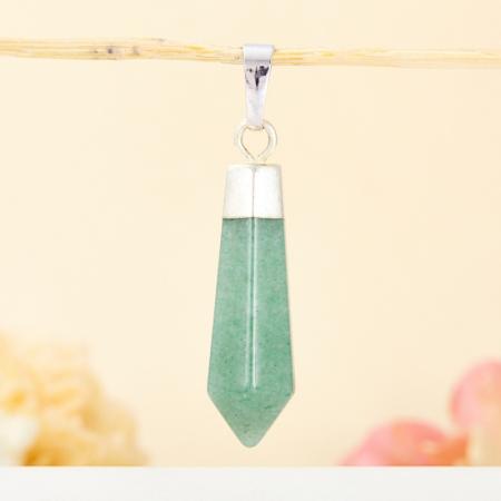 Кулон кристалл авантюрин зеленый  4 см