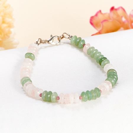 Браслет авантюрин зеленый, розовый кварц 18 cм от Mineralmarket