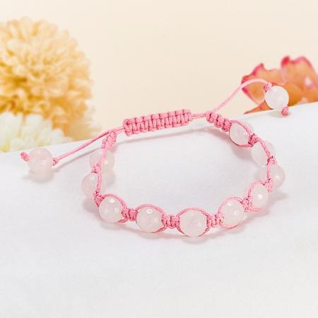Браслет розовый кварц  шамбала огранка 8 мм 15 cмРозовый кварц<br>Браслет розовый кварц  шамбала огранка 8 мм 15 cм<br><br>kit: None