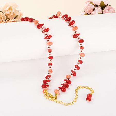 Бусы коралл красный, розовый  55-65 см