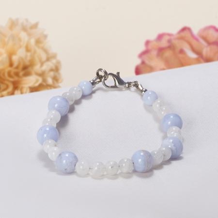 Браслет агат голубой, лунный камень  15 cм