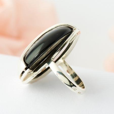 Кольцо агат черный  (серебро 925 пр.) размер 17