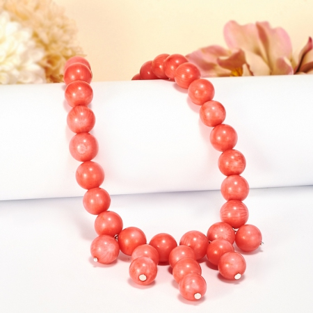 Бусы коралл розовый  10 мм 58-68 см