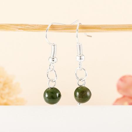 Серьги нефрит зеленый