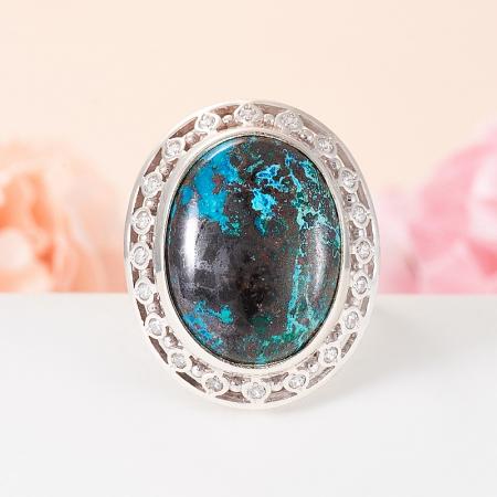 Кольцо хризоколла  (серебро 925 пр.) размер 18Хризоколла<br>Кольцо хризоколла  (серебро 925 пр.) размер 18<br><br>kit: None