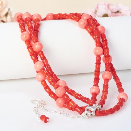 Бусы длинные коралл красный, розовый  81-94 см