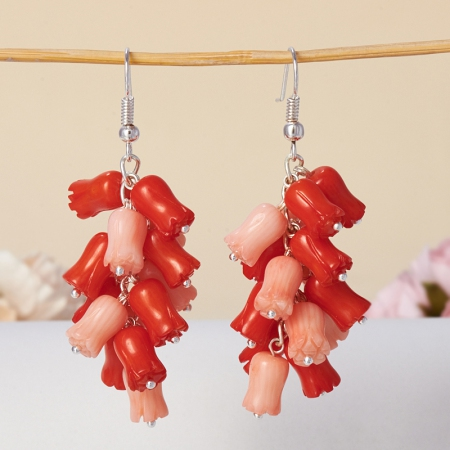 Серьги коралл красный, розовый