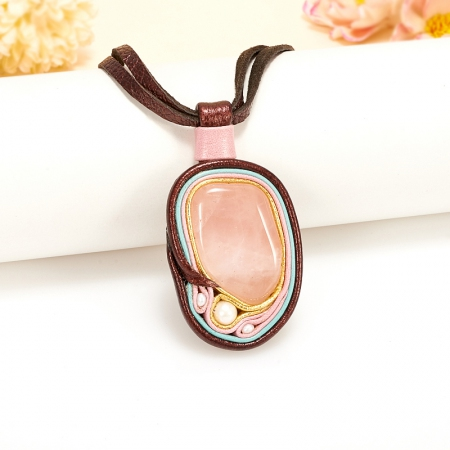 Подвеска розовый кварц, жемчуг (натуральная кожа)Розовый кварц<br>Подвеска розовый кварц, жемчуг (натуральная кожа)<br><br>kit: None