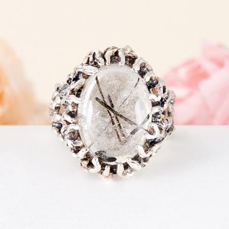 Кольцо кварц с турмалином  (серебро 925 пр.) размер 18