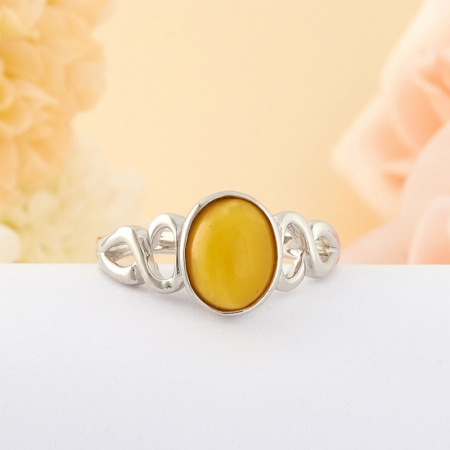 Кольцо Янтарь  (серебро)  размер 18