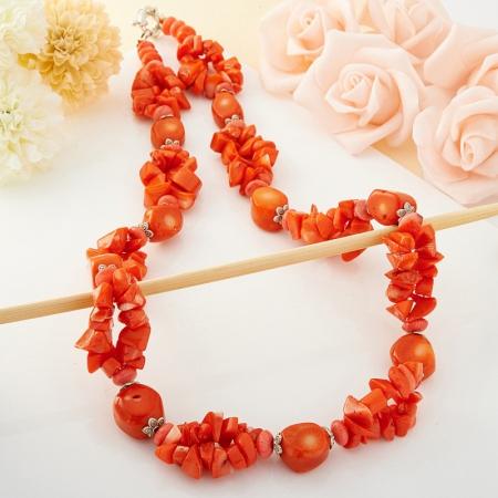 Бусы коралл оранжевый, розовый  64 см