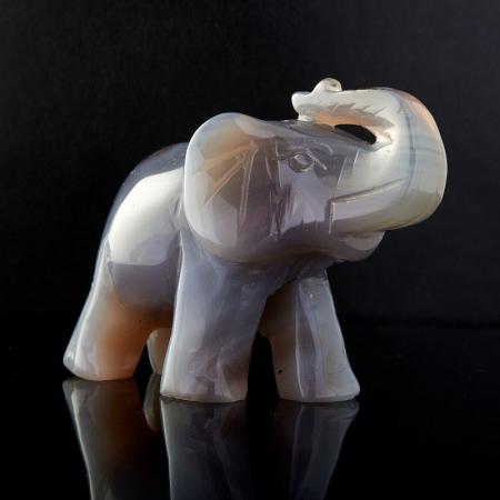 Слон агат серый  8 см