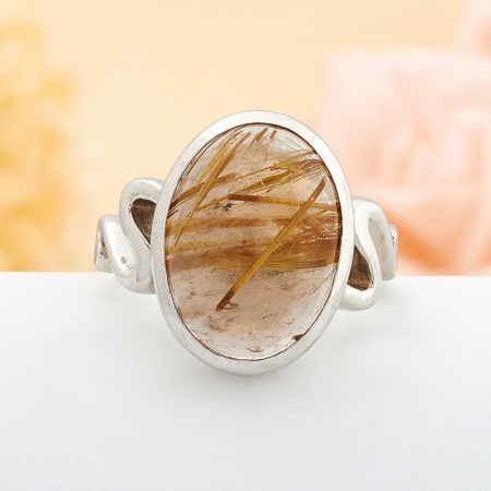 Кольцо рутиловый кварц  (серебро 925 пр.) размер 19,5