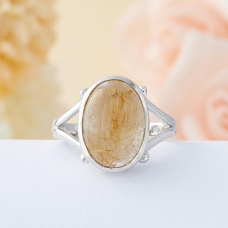 Кольцо рутиловый кварц  (серебро 925 пр.) размер 18,5