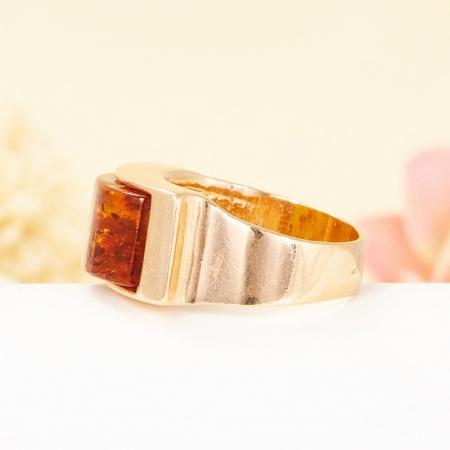 Кольцо янтарь (пресс.)  (серебро 925 пр, позолота) размер 17,5