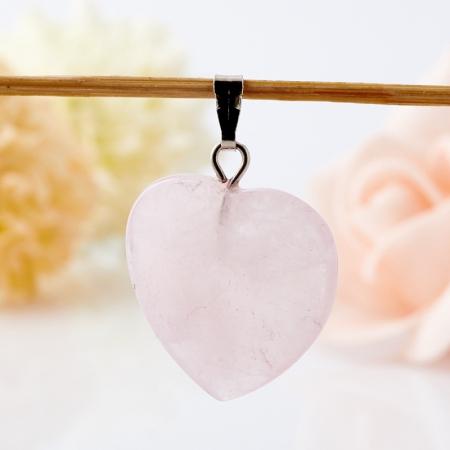 Кулон сердечко розовый кварц  3 см
