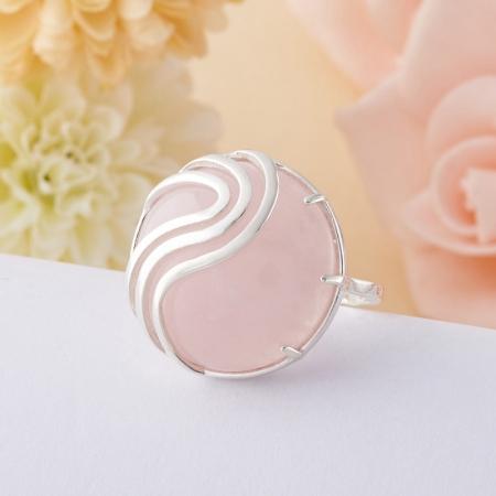 Кольцо розовый кварц  (серебро 925 пр.)  размер 18Розовый кварц<br>Кольцо розовый кварц  (серебро 925 пр.)  размер 18<br><br>kit: None