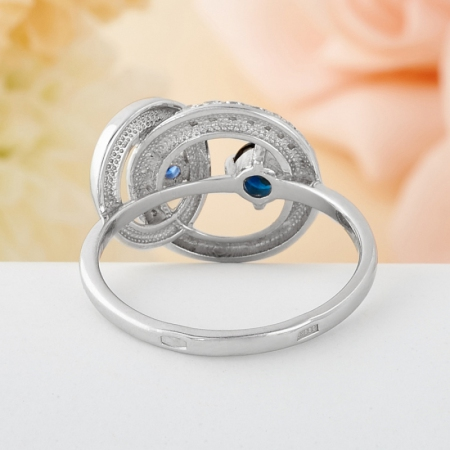 Кольцо сапфир  огранка (серебро 925 пр.) размер 18,5