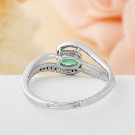 Кольцо изумруд  огранка (серебро 925 пр.) размер 19,5