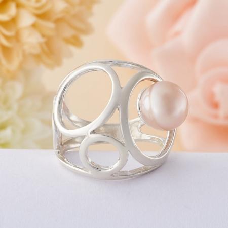 Кольцо жемчуг розовый  (серебро 925 пр.)  размер 18,5Жемчуг<br>Кольцо жемчуг розовый  (серебро 925 пр.)  размер 18,5<br><br>kit: None