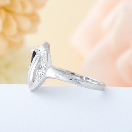 Кольцо сапфир  огранка (серебро 925 пр.) размер 17